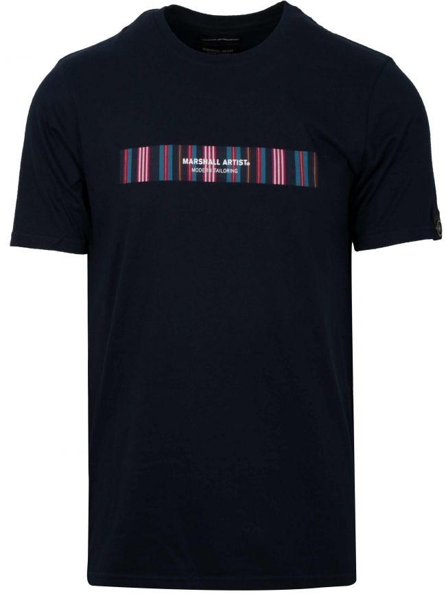 Navy Vert Stripe Logo T-Shirt