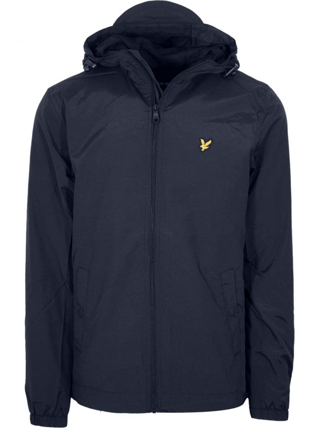 Dark Navy Zip Through Hooded Jacket