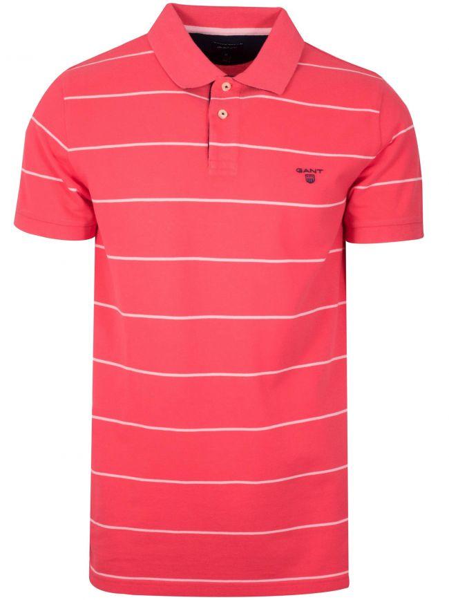 Watermelon Red Striped Polo Shirt