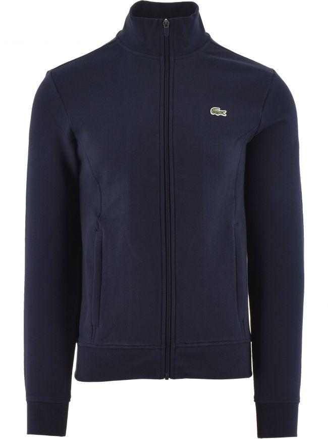 Navy Cotton Blend Fleece Zip Sweatshirt