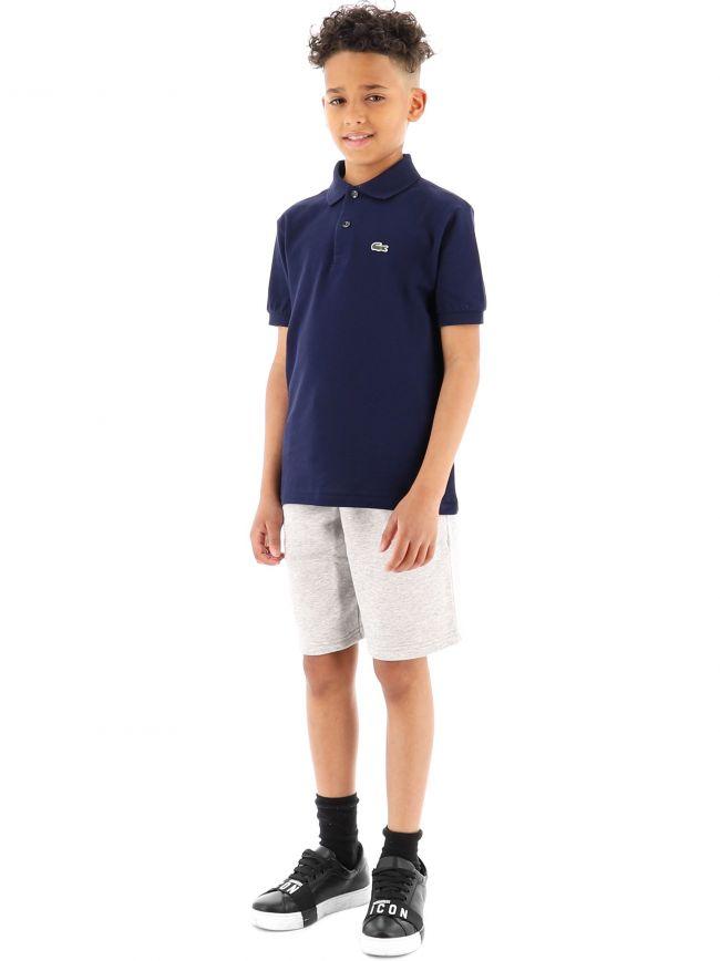 Lacoste Kids Navy Short Sleeve Ribbed Collar Polo Shirt