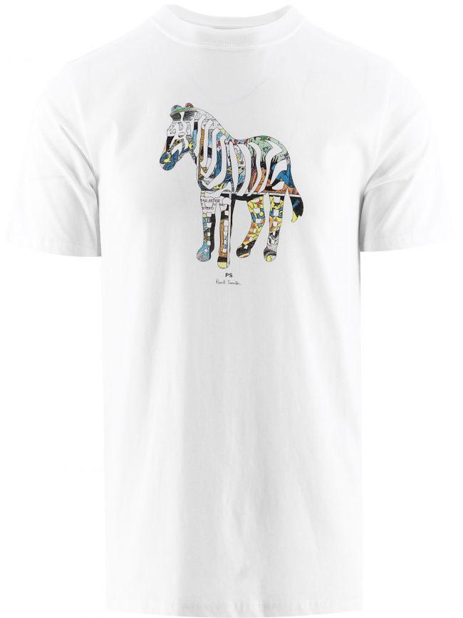 White Regular Fit Multi-Coloured Zebra Print T-Shirt