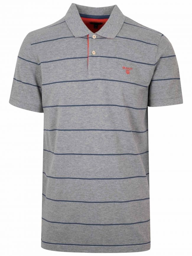 Grey & Navy Striped Polo Shirt