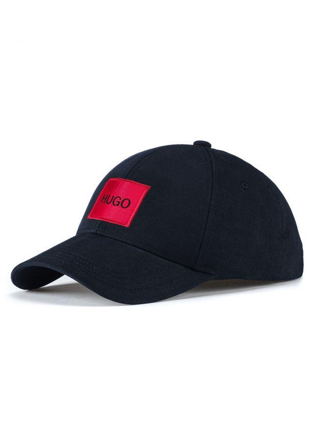 Dark Blue Cotton Twill Red Logo Cap