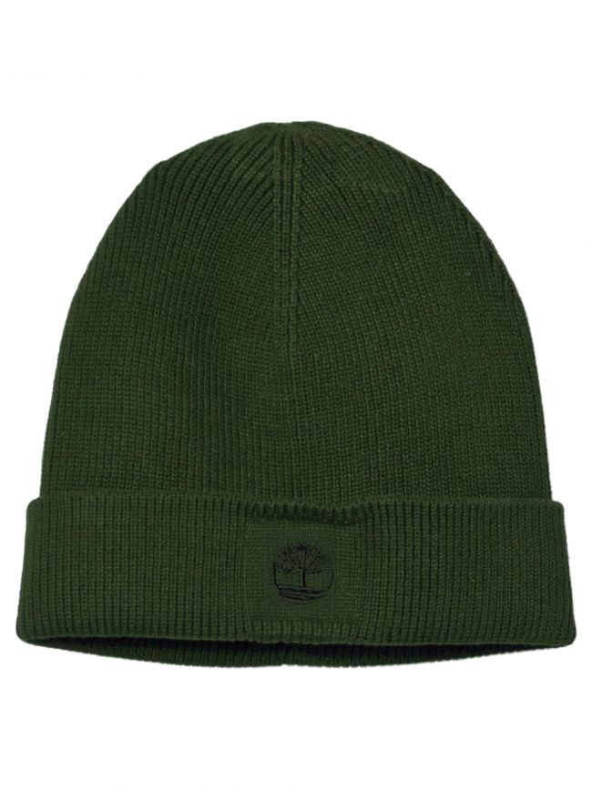 Green Ribbed Fold Back Beanie