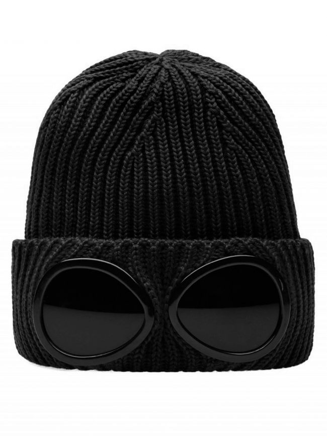 Black Goggle Beanie Wool Hat