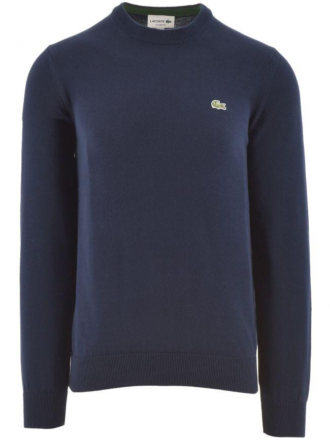 Navy Cotton Crew Neck Sweater