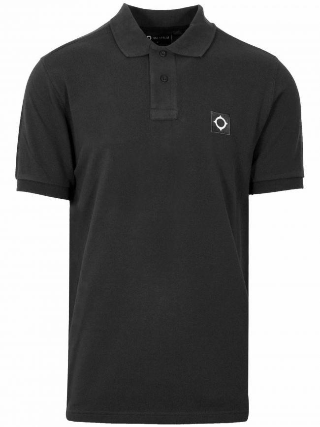 Jet Black Shirt Sleeved Pique Polo