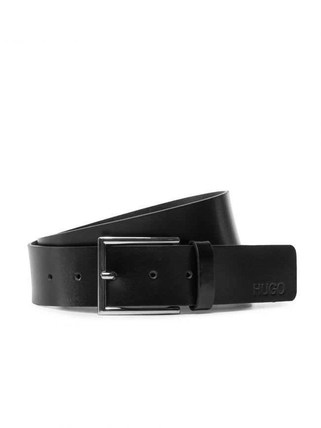 Black Giaspo Leather Belt