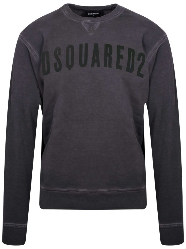 Grey & Black Logo Crew Neck Sweatshirt