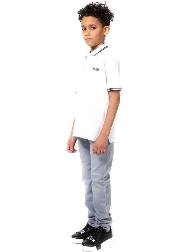 BOSS Kids White Embroidered Logo Cotton Polo Shirt