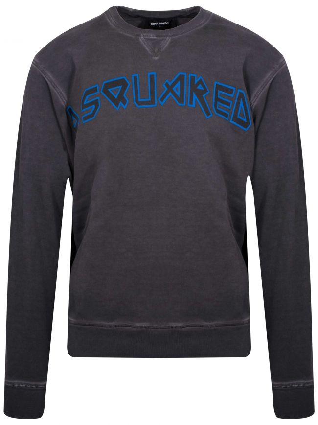 Grey & Blue Printed Logo Crew Neck Sweatshirt