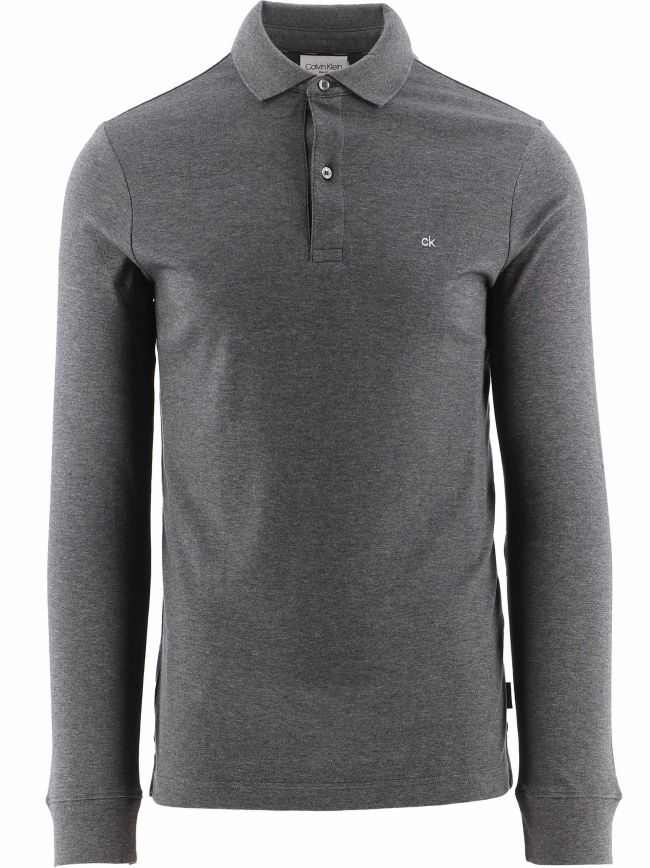Grey Slim Fit Long Sleeve Polo Shirt