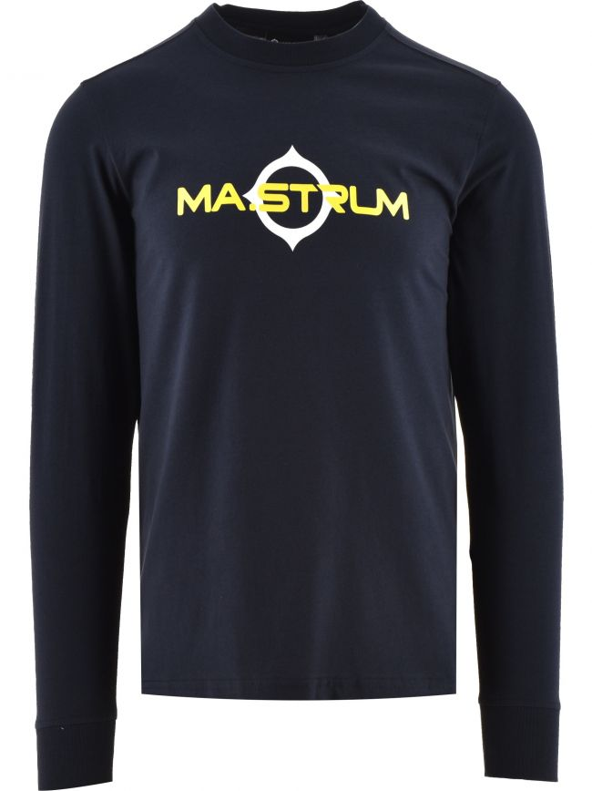 Navy Long Sleeve Logo Print T-Shirt