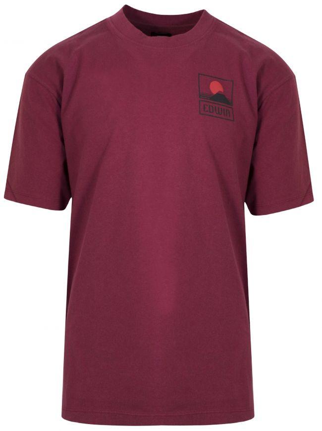 Dark Red Japanese Mountain T-Shirt