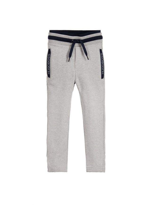 Grey & Navy Cotton Tracksuit Pants