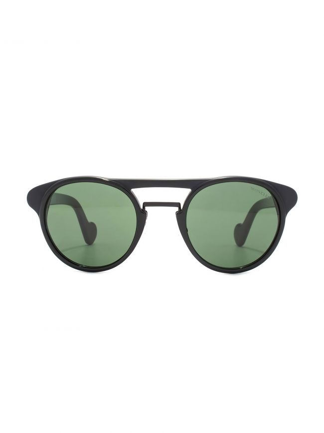 Black & Green Double Bridge Round Sunglasses