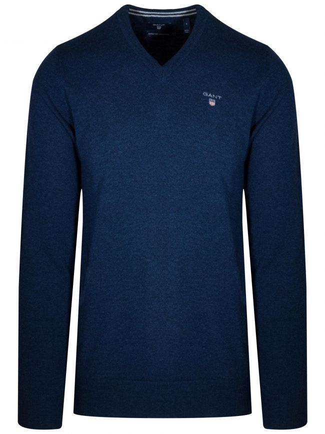 Super Fine Lambswool V-Neck Dark Blue Melange Jumper