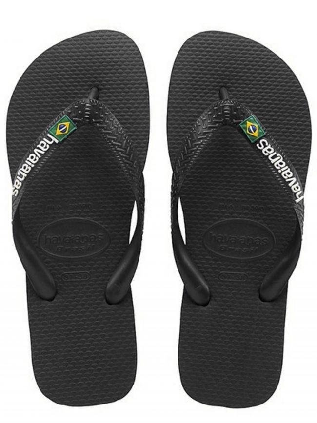 Black Brasil Logo Flip Flops