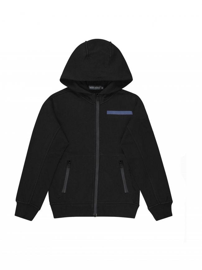 Black Embossed Logo Zipped Hooded Top
