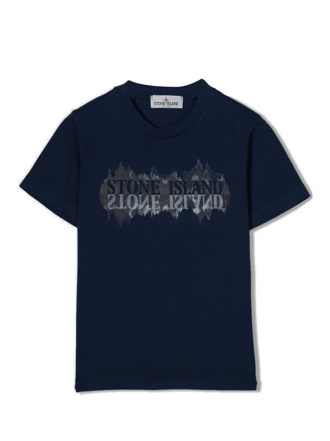 Navy Blue Printed Mountain Logo T-Shirt