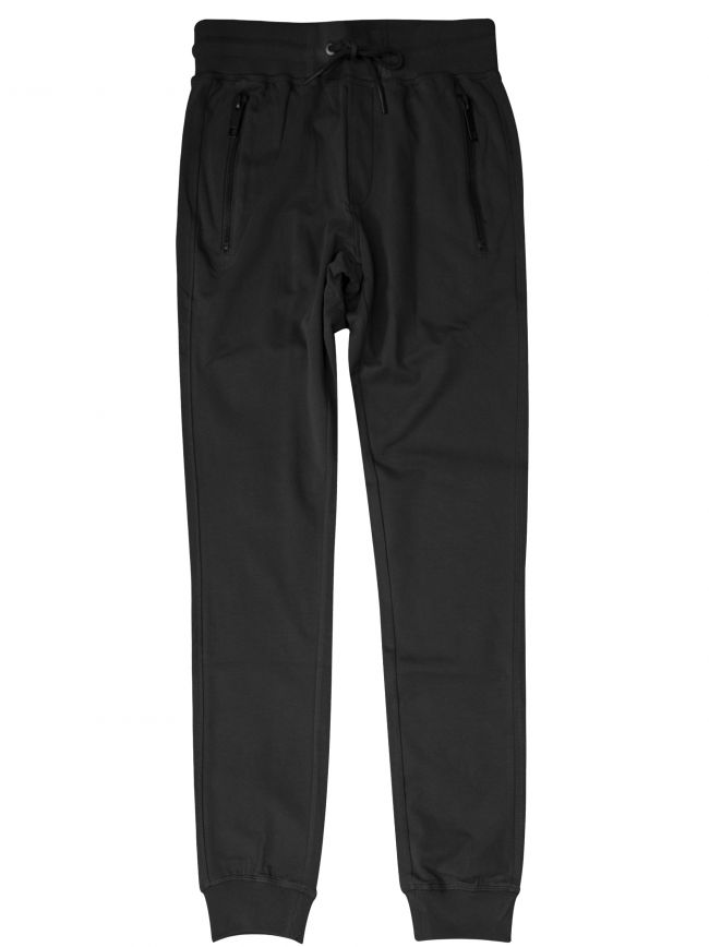 Black Plaque Logo Zipped Tracksuit Pants