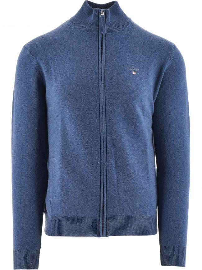 Superfine Lambswool Full Zip Blue Sweatshirt