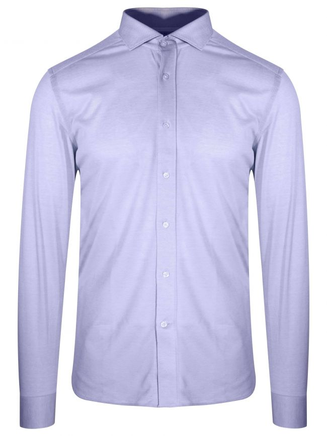 Blue Long Sleeve Spread Collar Shirt