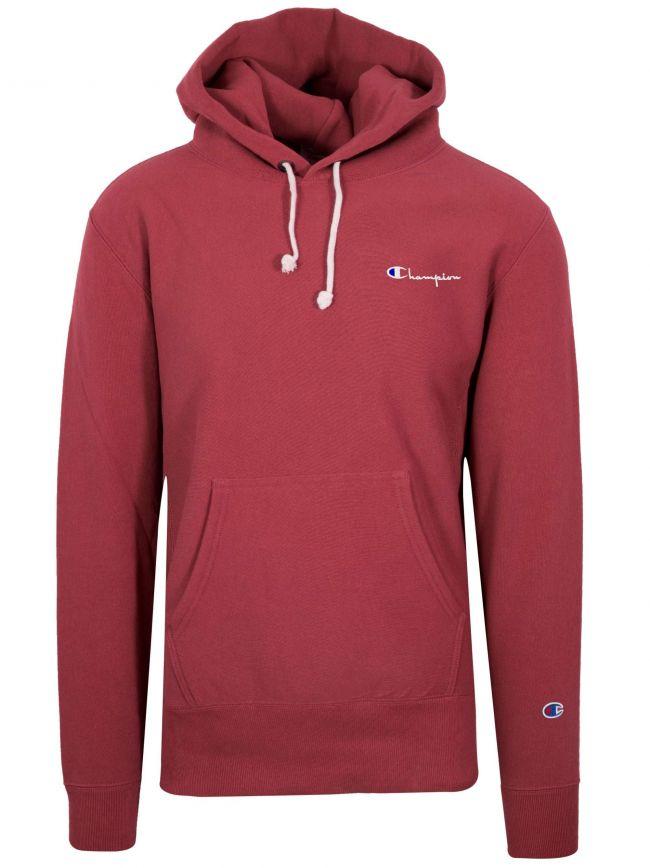 Reverse Weave Red Hooded Sweatshirt