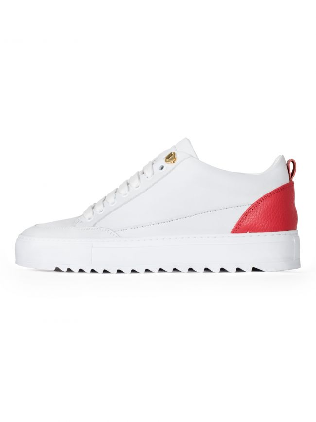 White & Red Leather Tia Sneaker