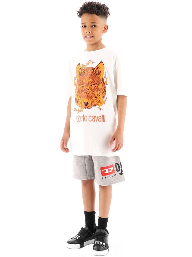 Roberto Cavalli Kids White Wolf Jersey T-Shirt