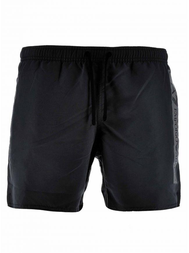 Black Reflective Logo Swim Short