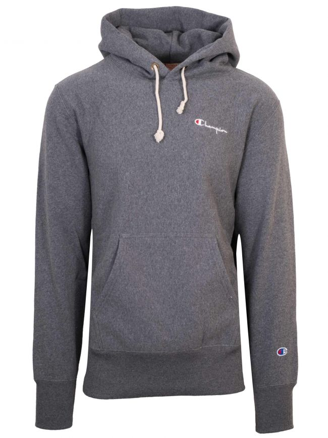 Reverse Weave Dark Grey Hooded Sweatshirt