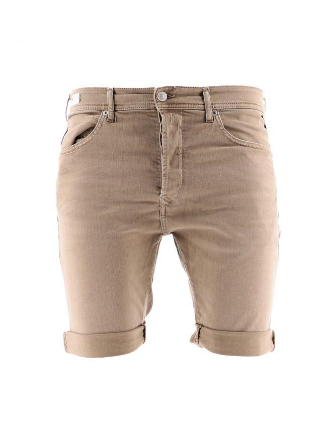 Beige Denim Bermuda Shorts