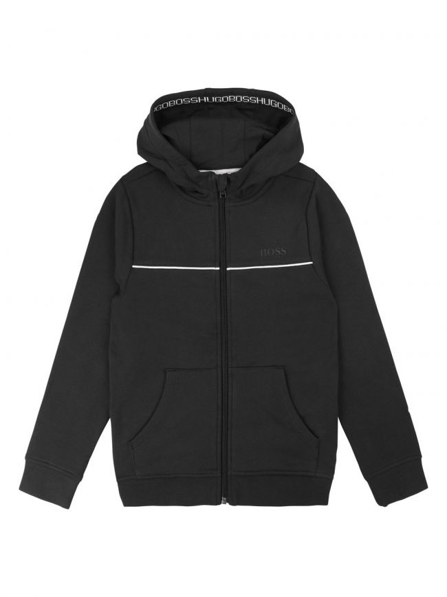 Black Cotton Hooded Sweatshirt