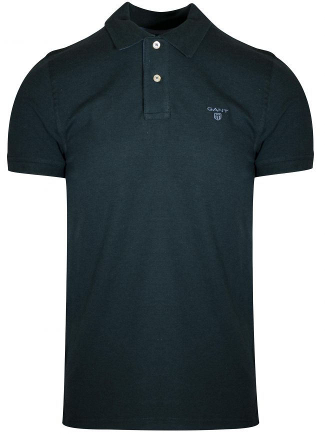 Forest Green Melange Contrast Polo Shirt