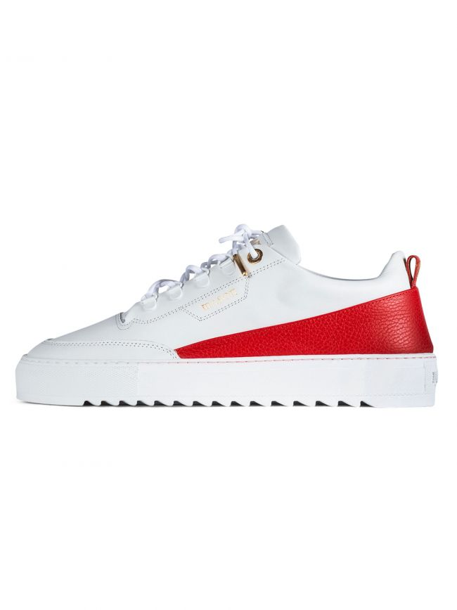 White & Red Torino 16A Leather Sneaker