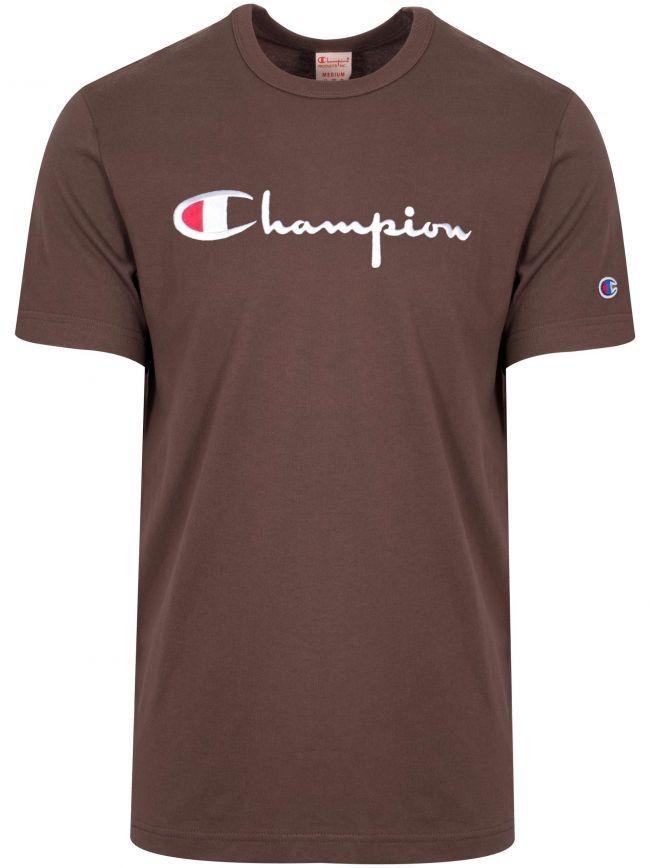 Reverse Weave Aubergine Big Script T-Shirt