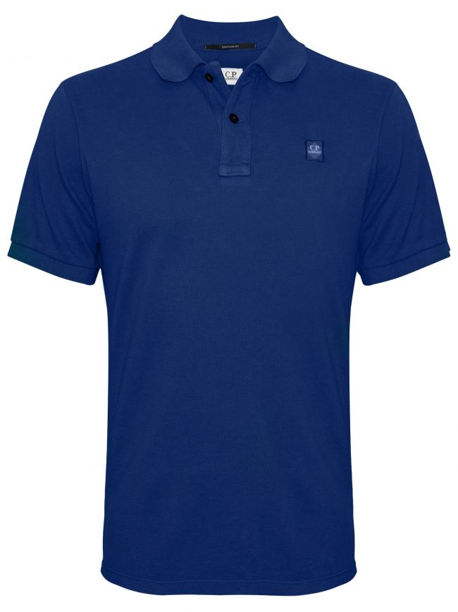Garment Dyed Blue Polo Shirt