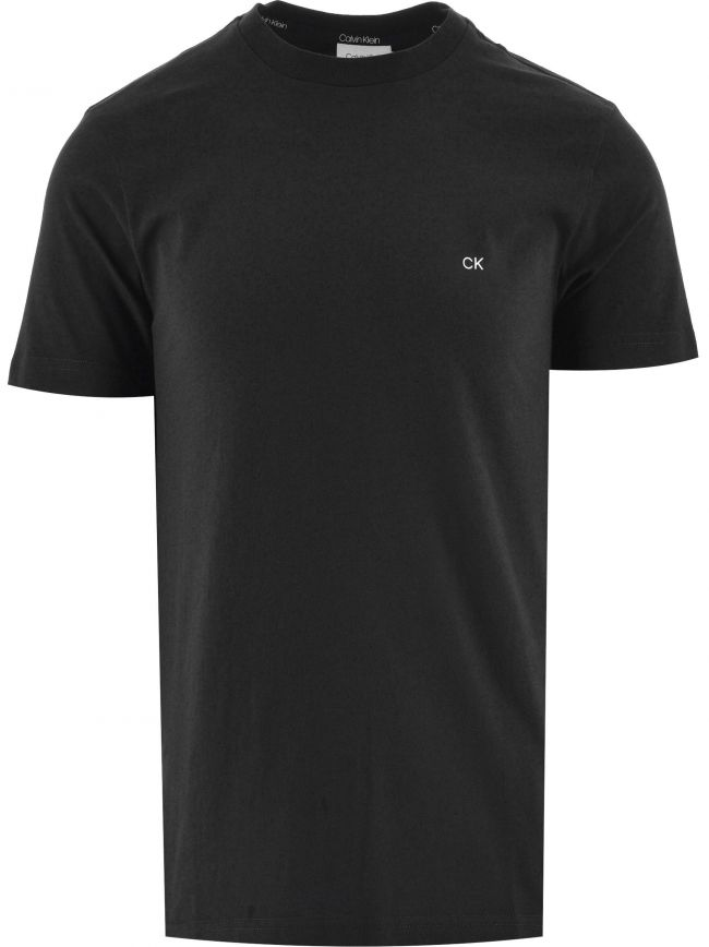Black Cotton Embroidered Logo T-Shirt