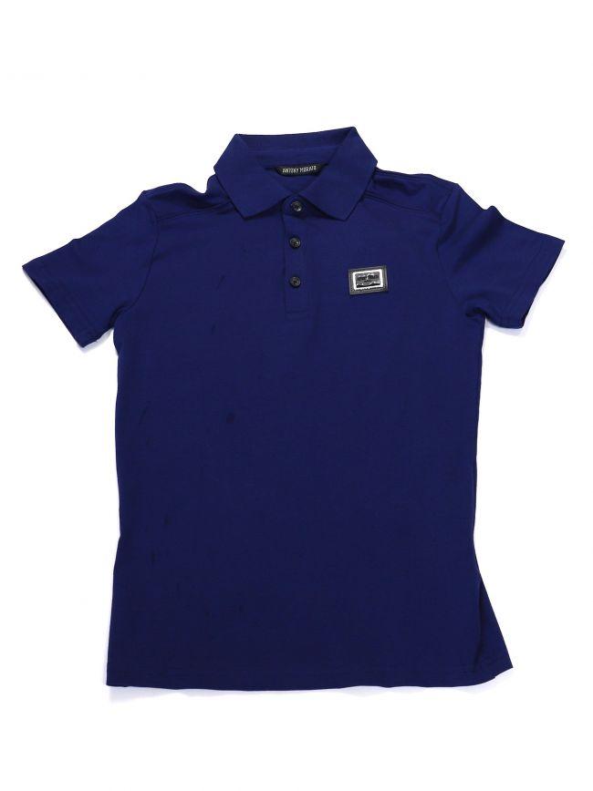 Antony Morato Kids Royal Blue Plaque Short Sleeve Polo Shirt