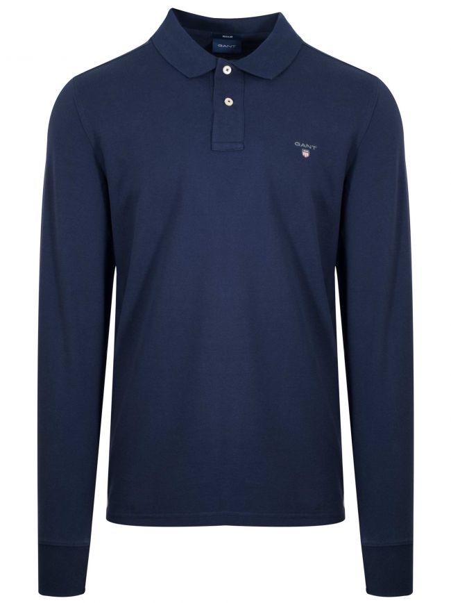 Navy Classic Long Sleeve Polo Shirt