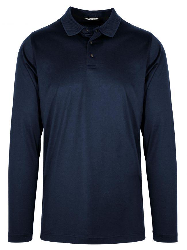 Navy Blue Contrast Collar Polo Shirt