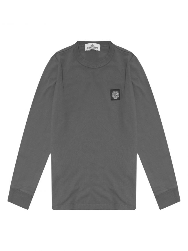 Grey Patch Logo Pique Long Sleeve T-Shirt