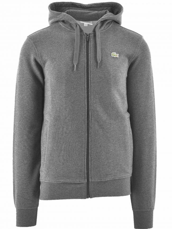 Grey Hooded Lightweight Bi-material Sweatshirt