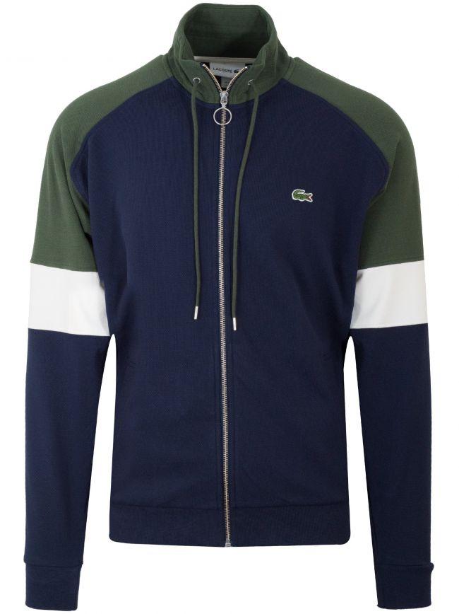 Navy & Khaki Pique Zip Sweatshirt
