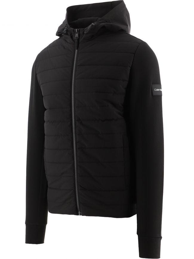 Black Mix Media Hood Jacket