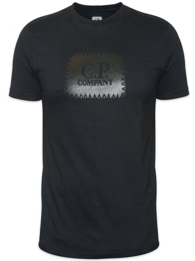 Black Embroidered Print Logo T-shirt
