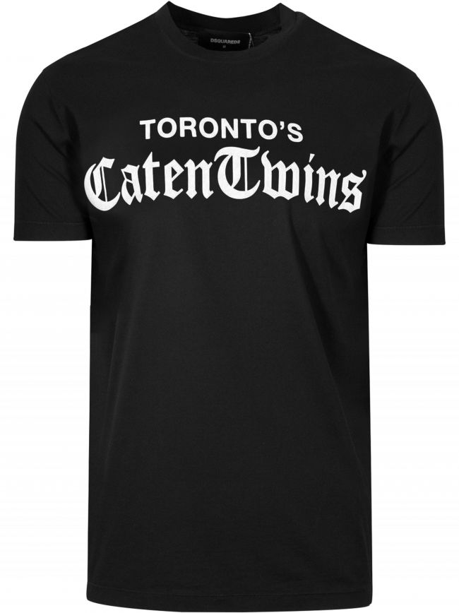 Black Caten Twins Print T-Shirt