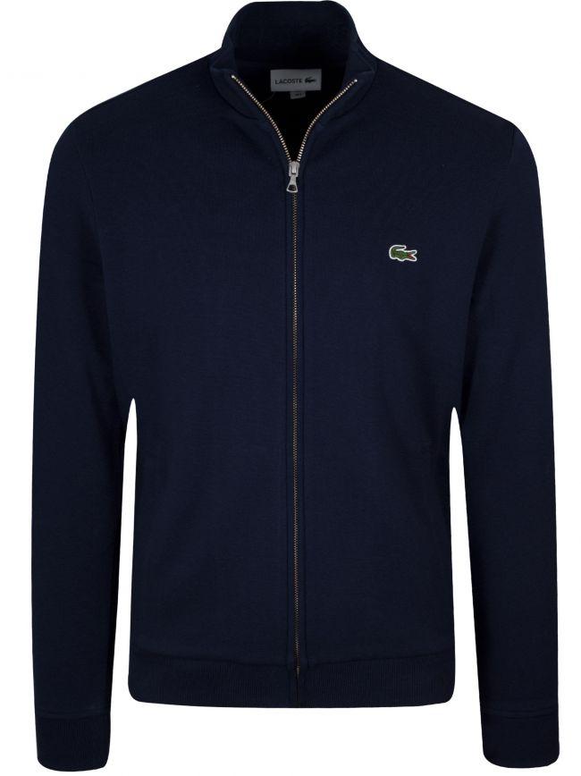 Black Pique Zip Sweatshirt